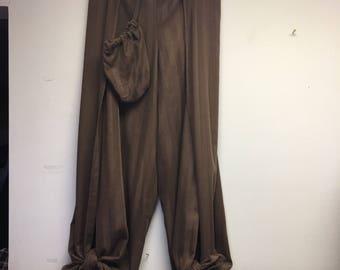 WRAP PANTS   chocolate brown shadow stripe Egyptian cotton Pirate Buccaneer Gypsy LARP