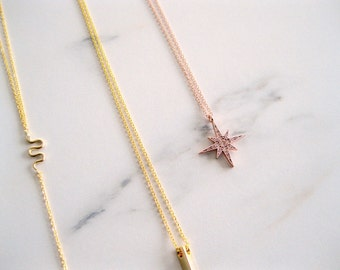 Rose Gold North Star Necklace, rose gold star necklace, rose gold necklace jewelry, rose gold choker pink jewelry for sister