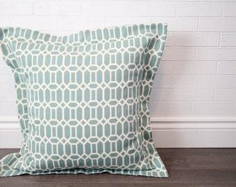 "26x26"" Seafoam Geometric Lattice Euro Pillow Sham with 2"" Flange"