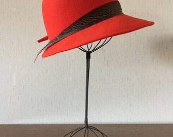 Vintage 60s Red Wool Hat