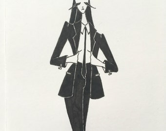 original fashion illustration / suit drawing / androgyny / ink pen art