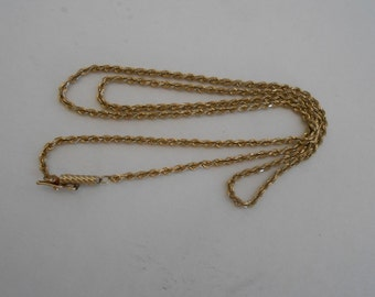 Vintage 10K Solid Yellow Gold Rope Chain 21 inches