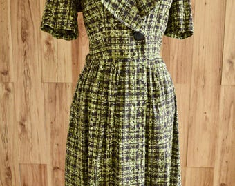 1950s Forest Green Atomic Novelty Print Dress, Black Block Print Shirtwaist Dress, Green Floral Shirt Dress w/ Gathered Skirt & Big Button