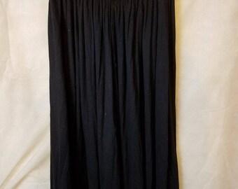 S M Small Medium Vintage 80s Gold Sequin Sparkle Bead Black grunge gothic Summer Hipster Indie High Elastic Waist Full Midi Skirt