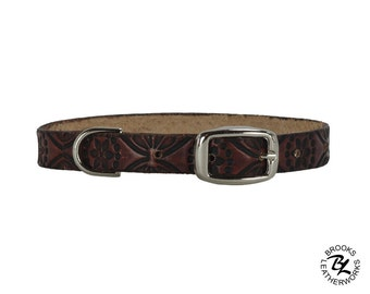 Leather Dog Collar, Embossed Leather Dog Collar, Leather Pet Collar. 1/2 Inch Wide Embossed Leather Dog Collar