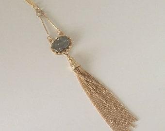 Long Dainty Oval Druzy Tassel Necklace