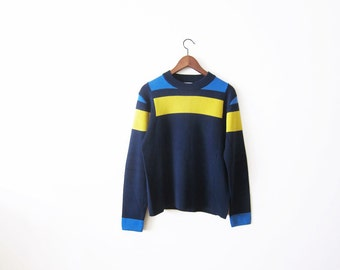 Colorblock Sweater / 70s Knit Sweater / Vintage 1970s Sweater / Blue Yellow Color Block Pullover Jumper