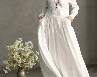 White Linen Dress, White Maxi Dress, White Prom Dress, White Wedding Dress, Long White Dress, Pleated Waist And Pintuck Dress, White Evening
