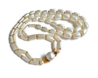White and Gold Bead Necklace Double Strand Signed Hong Kong Matching Clasp, Lightweight Vintage Plastic Bead Necklace