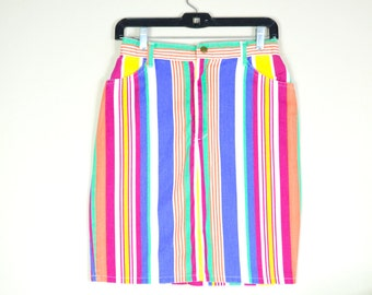 80s/90s colorful striped denim skirt / vintage high waisted pencil skirt