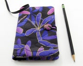 Cover for Pocket Moleskine, Small Journal Cover, Pocket Notebook 3.5 x 5.5 inch, Journal Slipcover - Purple Dragonflies on Black