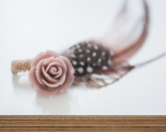 Camille Rose and Feather Buttonhole