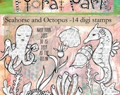 Seahorse and Octopus - 14 digi stamp set
