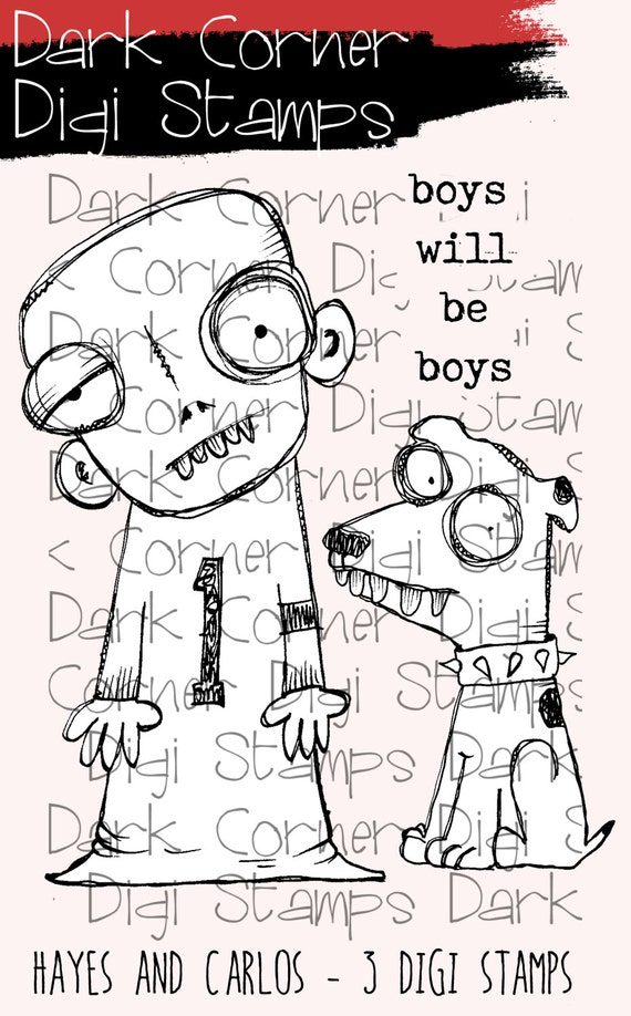 Hayes and Carlos - creepy, quirky cute boy and his dog digi stamps available for instant download