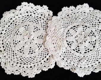 white crocheted vintage doilies