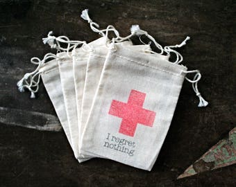 Wedding favor bags, DIY Hangover Kits.  I regret nothing with red cross.  Bachelor or Bachelorette party favor. Funny wedding favor.