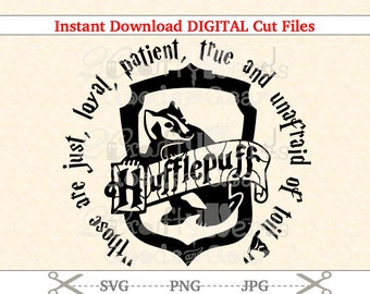 Make Your Own Harry Potter Hufflepuff Crest House Quote PNG SVG JPG Cutting file Cutter Silhouette Cricut Stencil Project Iron Vinyl