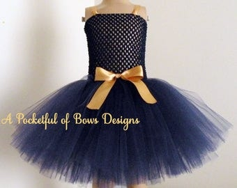 Navy Tutu Dress with Gold Bow and Shoulder Straps