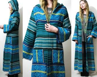 Hooded TAPESTRY Jacket 70s Vintage Tunic Robe BELL SLEEVE Handmade Long Maxi Ethnic Tribal Kaftan Caftan Coat Boho Hippie 1970s vtg xs