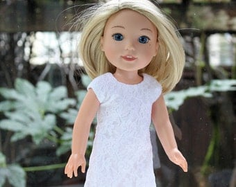White lace shift dress for 14 in doll (like Wellie Wishers)