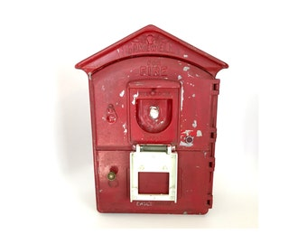Antique Aluminum Gamewell Fire Station Alarm Box with Phone