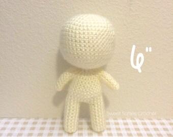 "6"" Chibi Doll Base - Amigurumi Crochet Pattern for Custom Customizable Child Boy Girl Baby Toddler Mini Tiny Human Body Anime Figure Plushie"