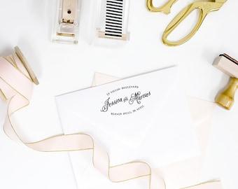 Custom return address rubber stamp - round wedding hand drawn calligraphy invitations return address - wood handle or self inking - TP010