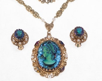 Vintage Heliotrope Cameo AB Rhinestone Pendant Necklace & Earrings ~ W. Germany HTF Demi Par