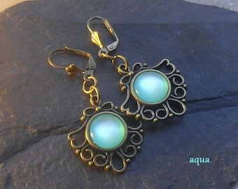 MEDIEVAL EARRINGS, art nouveau earrings, Vintage jewelry, aqua earrings, opal earrings, dangle earrings, gift for women, aqua earrings,