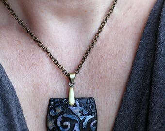 Polymer Clay Jewelry, SteamPunk Jewelry, Gift for Her, Gift for Mother's Day, Fashion Jewelry, Art Jewelry, Geometric Necklace