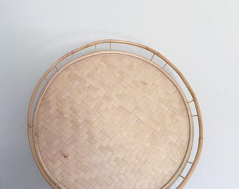 Vintage Mid Century Bamboo Rattan Serving or Display Round Tray | Home Decor, Boho