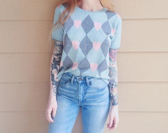 Retro Kawaii Argyle and Hearts Knit Mod Pastel Short Sleeve Sweater Blouse // Women's size Small S