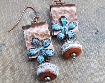 Copper Flower Earrings - Torch Fired Enamel and Textured Copper Artisan Lampwork Dangle Earrings - The Blue Hutch
