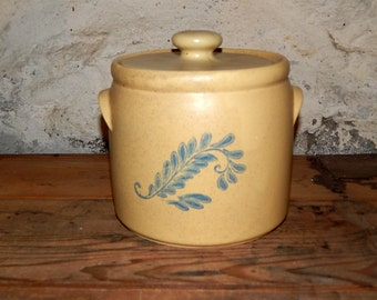 Vintage McCoy Cookie Jar Blue Fern Blue Field Hippie Days Tan Blue  Rare Collectible.
