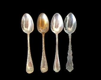 Antique Demitasse Spoons Silver Plate Mismatched Collection Silverware Espresso Spoons Set of 4