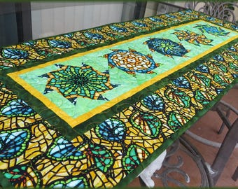 Quilted Table Runner Quilt Art Glass Olive Yellow 625