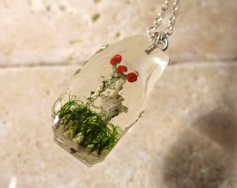 Pixie cup and lipstick Lichen (Cladonia sp.) and Moss (Dicranum sp.)  Necklace, Plant Jewelry, mycology, fungi, woodland, clacked ice style