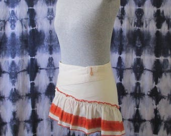 Ruffle Wrap Skirt - Eco Clothing - One of a Kind Skirt - Small Wrap Skirt - Upcycled Skirt - Orange and White Skirt