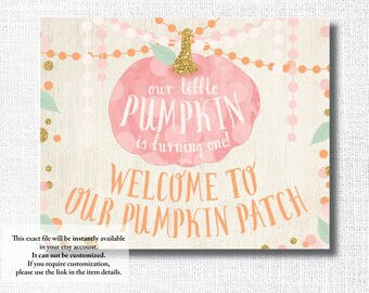 OUR LITTLE PUMPKIN is turning one welcome to our pumpkin patch pink pumpkin 8x10 sign instant digital download printable diy file