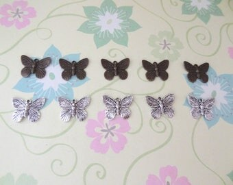 10 pcs - Bronze and/or Silver Butterfly Charm