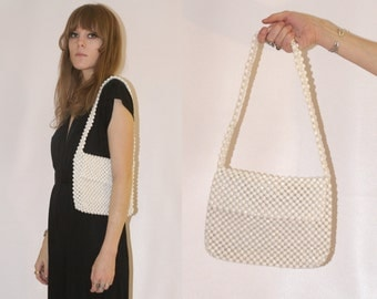 SALE // Vtg 60s Pearly Bead Purse