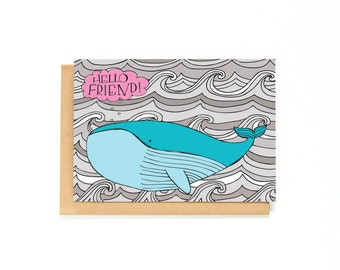 Just Because Card - Miss You Card - Best Friends - Long Distance Relationship - Card For Friend - Whale Illustration - Thinking Of You Card