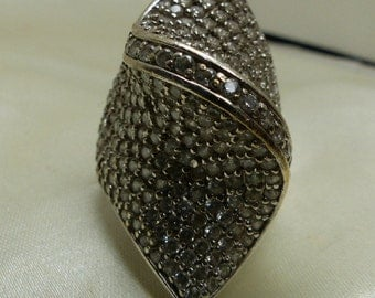 Huge Sterling Silver CZ Pave ring sz 8-18.5 grms-40mm top to bottom-Pave 80mm across top-1mm stones-1879