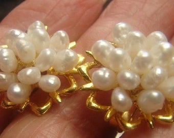 Beautiful Freshwater Pearl Earrings 7 grms, 20 mm in diam, 10mm high, clip, screw 1407
