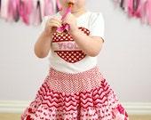 Girls skirt - Chevron Skirt - Hearts Skirt - Ruffle Skirt - Girls Peasant Skirt - Kids Fashion
