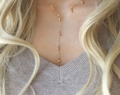 """14k gold filled """"Y"""" Necklace with mini drops droplets teardrops, lariat, perfect for layering"""