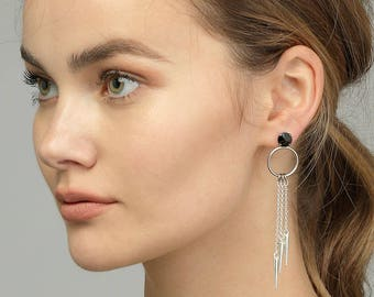 Long Silver Chain Earrings Chain Drop Earrings, Silver Spike Earrings, Black Swarovski Crystal Earrings, Long Silver Crystal Dangle Earrings