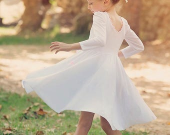 SALE// White Twirly Long Sleeves Dress for Girls with baby pink bows/Toddlers// Birthday dress // white and pink dress for girls