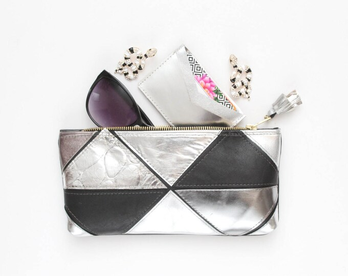 MINI PRISM 43 / Natural and vegan leather small clutch / make up pouch / pencil case /black silver / metallic leather - Ready to Ship