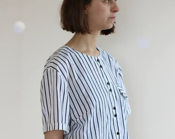 striped black and white cotton vintage blouse